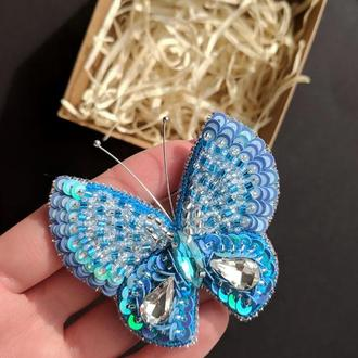 """Брошь """"Голубая бабочка"""""""