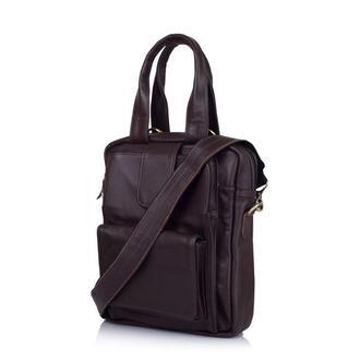 Кожаная вертикальная коричневая мужская сумка трансформер GC-7266-2md TARWA