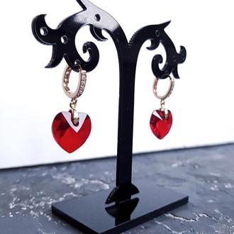 Сережки з кристалами Swarovski серце у позолоті серьги сердце подарок жене на 14 февраля девушке