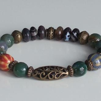 Бохо-браслет из натуральных камней, фарфоровых и бронзовых бусин