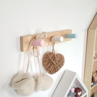 Вешалка крючки крючек для одежды цветной из дерева