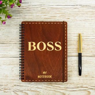 Блокнот с деревянной обложкой А5 190х145  Boss