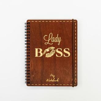 Блокнот с деревянной обложкой А 5 190 х 145 мм Lady Boss