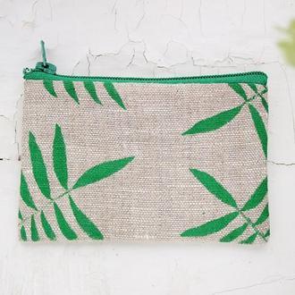 """Маленький льняной кошелек с рисунком """"Пальмовый лист"""""""