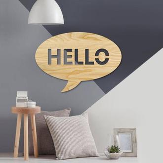 Деревянная надпись Hello cloud