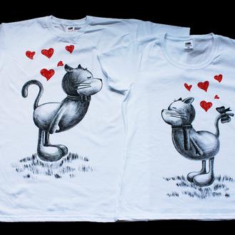 Парные футболки для влюбленных Котики