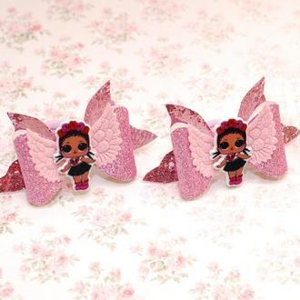 Банты бантики из экокожи с куколками ЛОЛ
