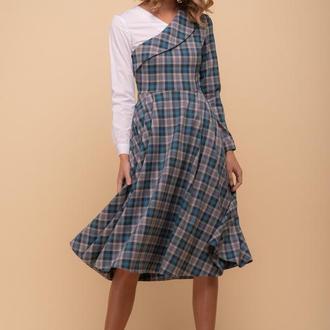 10224 платье-сарафан в серо-бирюзовую клетку с карманами