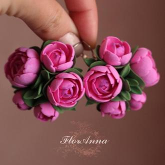 """Крупные серьги с цветами """"Пионы цвета фуксия"""""""