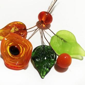 Лэмпворк цветы и листья подвески бусины