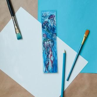 Закладка для книг Море Медуза Синий