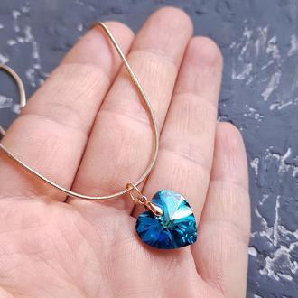 Позолота кулон на ланцюжку з кристалом Swarovski серце подарок на день влюбленных сердце 8 марта