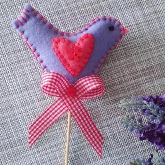 Топпер Лавандовая птичка