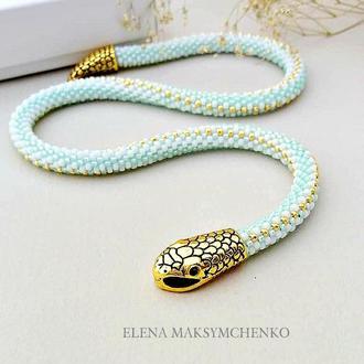 Колье-жгут Змейка мятный из японского бисера