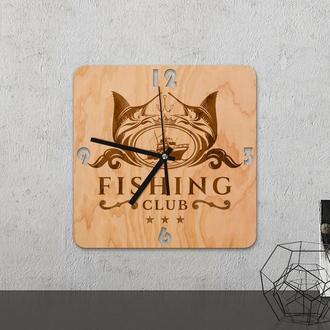 """Настенные часы из древесины """"Fishing club"""""""