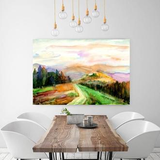 Пейзаж акварель Горный пейзаж Картина закат Заказать картину Художник Абстрактная картина Лес