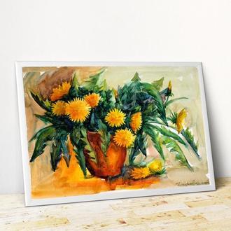 Картина цветы Одуванчики картина Картина с цветами Художник картина в подарок Заказать картину