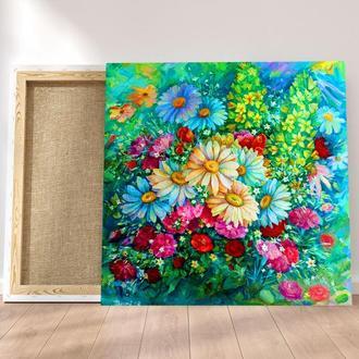 Картина цветы Абстракция цветы Ромашки картина Картина с цветами Картина букет Картина ромашки