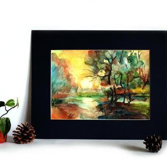 Абстрактная картина пейзаж Картина лес Картина рассвет Картина закат Картина на заказ Художник