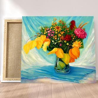 Картина букет Цветы картина Яркая картина Букет цветов картина Художник Заказать картину