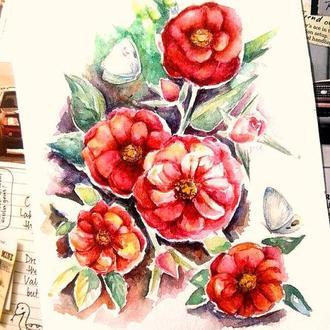 Роза картина Роза иллюстрация Картина цветы Картина с цветами Картина на заказ Творческий подарок