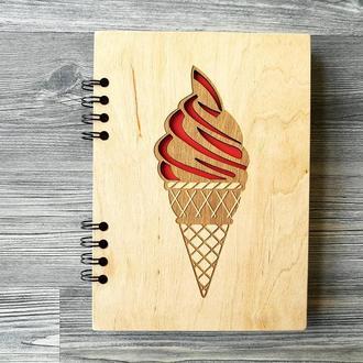"""Блокнот в деревянной обложке """"Мороженое"""""""