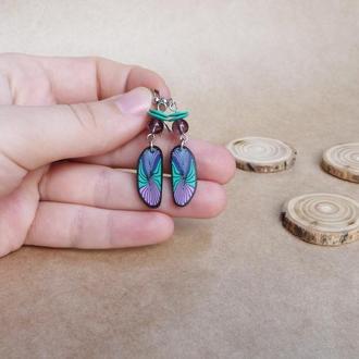Серьги с перышками, фиолетово бирюзовые серьги , серьги в стиле бохо, необычные серьги