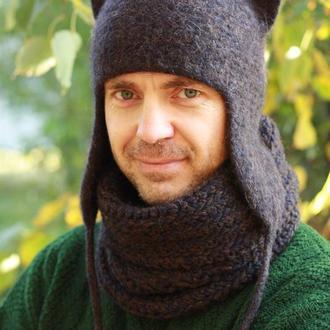 Зимняя теплая шапка Кошка