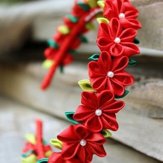 Красный ободок с цветами для девочки Венок с цветами