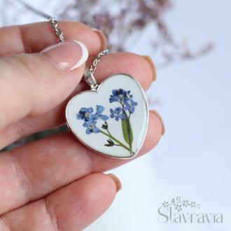 Підвіска серце з незабудками ~ кулон сердце с синими незабудками • белая подвеска с голубыми цветами