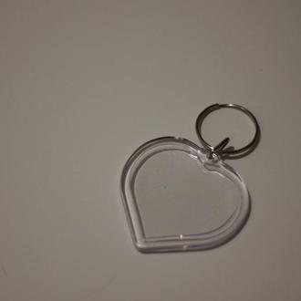 Акриловая заготовка для брелка. Сердце. 50х50мм (Фото 41х38мм).