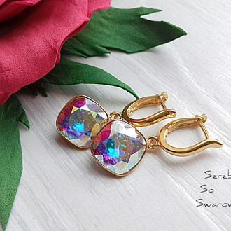 Позолоченные серебряные серьги Сваровски