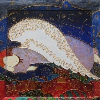 «Спящий ангел»картина роспись стекла