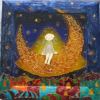 «Девчушка-ангелочек» роспись стекла