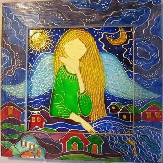 «Девочка-ангел»витражная роспись