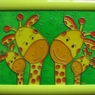 «Жирафики»роспись стекла