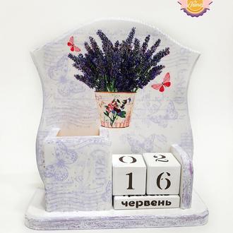 Вечный календарь со стаканчиком для канцелярии Прованс