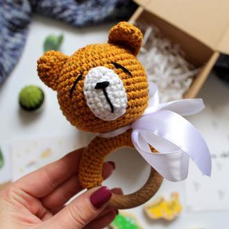 Погремушка в наличии грызунок вязаная мишка подарок