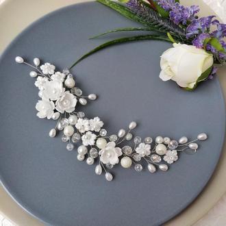 Свадебное украшение для волос. Веточка в прическу. Украшение в прическу