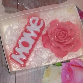 Сувенирное мыло: набор Маме с розой