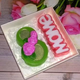 Сувенирное мыло: набор Восьмерка с розами, маме