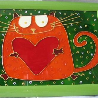 «Кот с сердцем» витражная роспись