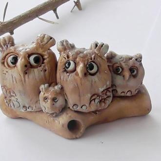 Семья Сов Статуэтка совы на бревне