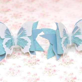 Яркие модные стильные бантики из экокожи с бабочками