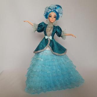 Кукла Мальвина (голубая фея) из Пиноккио в кружевном бальном платье