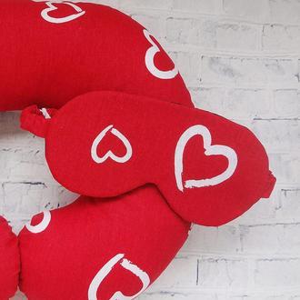 Маска для сна - сердца, сердце, подарок ко Дню Святого Валентина, подарок девушке