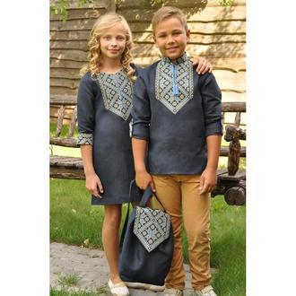 Вишиванка для хлопчика і вишита сукня для дівчинки
