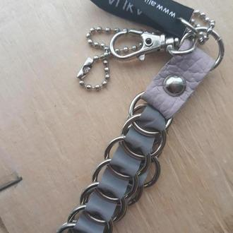 Финский брелок безопасности (фликер). Кожаный брелок. Флiкер. Светоотражающий брелок из кожи