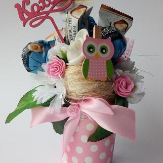 Букети топiарii з цукерками на День всiх закоханих!