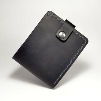 Тонкий кожаный кошелек на кнопке, натуральная кожа